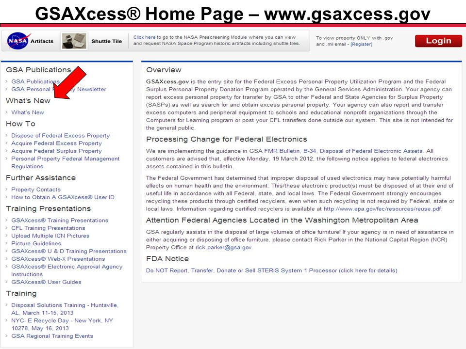 Federal Acquisition Service U.S. General Services Administration GSAXcess® Home Page – What's New