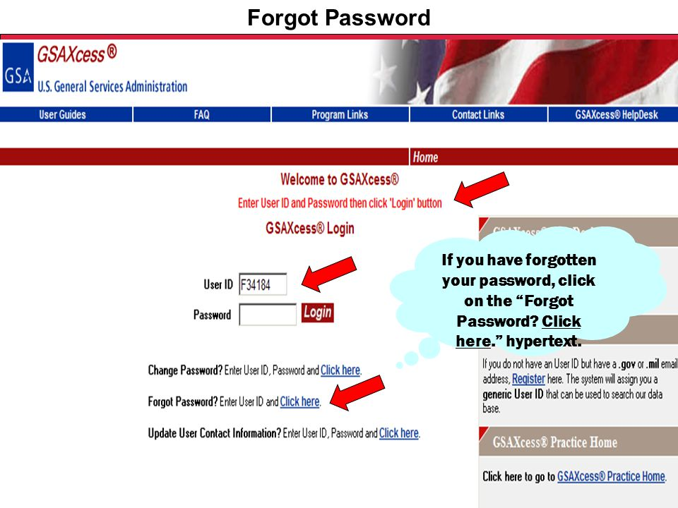 "Federal Acquisition Service U.S. General Services Administration Forgot Password If you have forgotten your password, click on the ""Forgot Password? C"