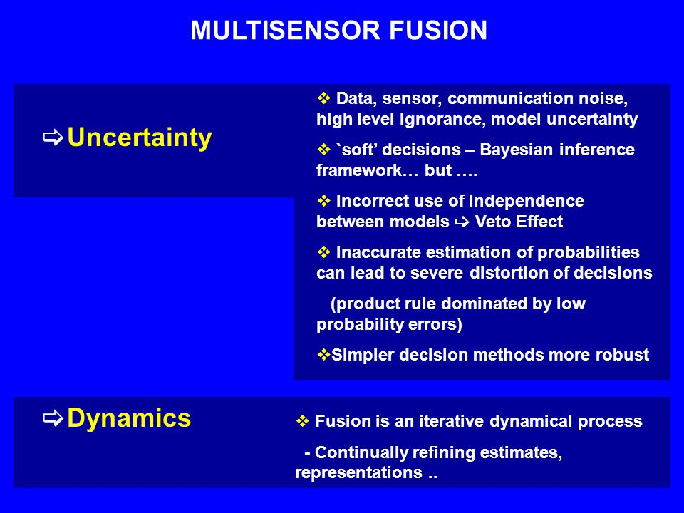 MULTISENSOR FUSION  Uncertainty  Dynamics  Data, sensor, communication noise, high level ignorance, model uncertainty  `soft' decisions – Bayesian inference framework… but ….
