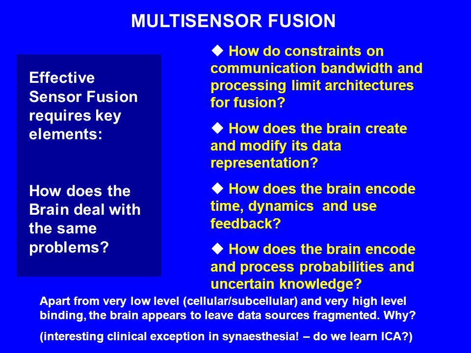 MULTISENSOR FUSION  How do constraints on communication bandwidth and processing limit architectures for fusion.