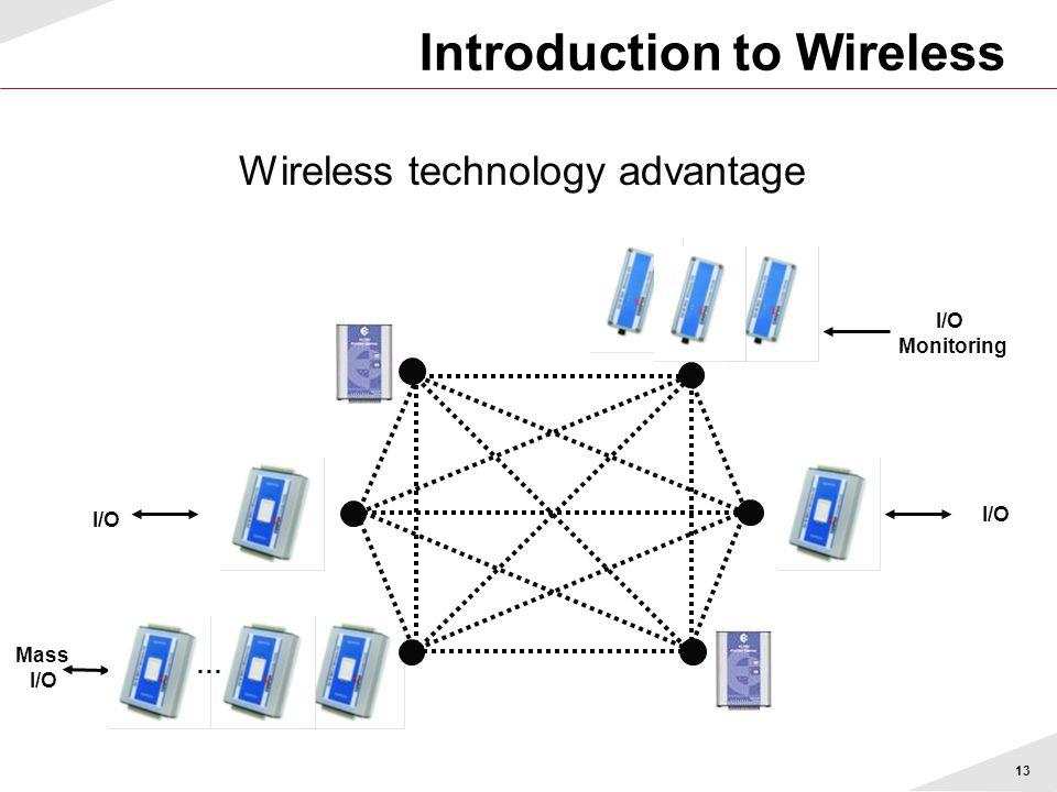 13 Wireless technology advantage Mass I/O Monitoring I/O Introduction to Wireless …