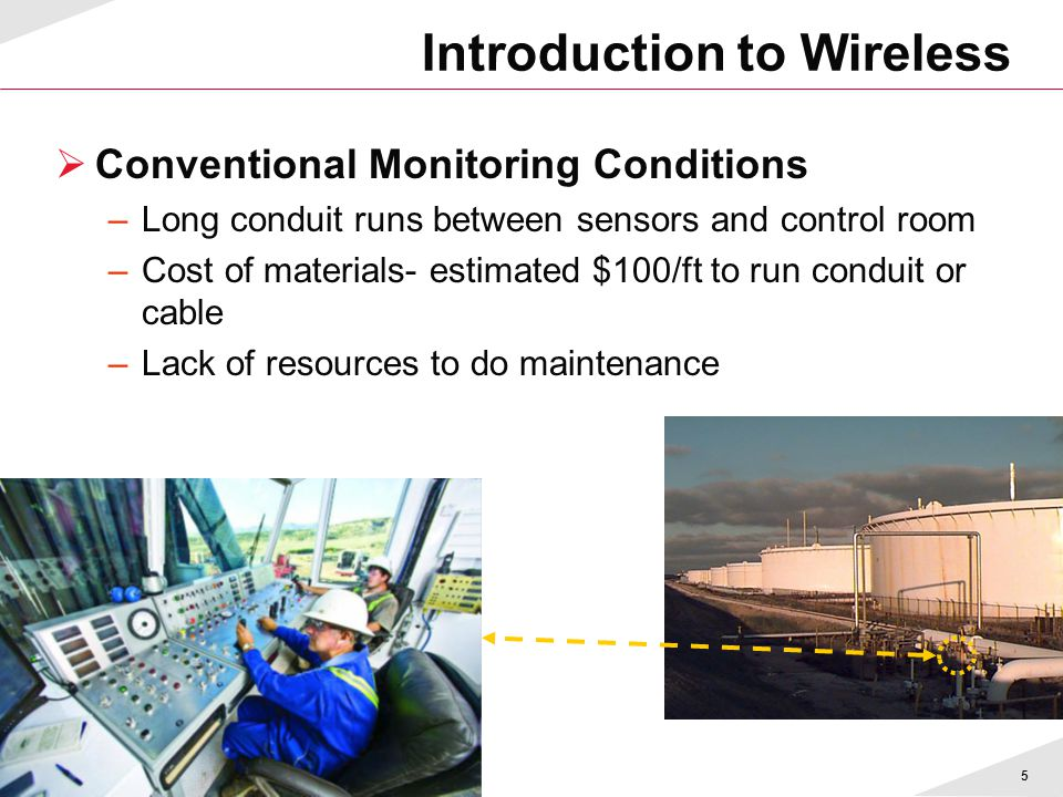 5 Introduction to Wireless  Conventional Monitoring Conditions –Long conduit runs between sensors and control room –Cost of materials- estimated $100