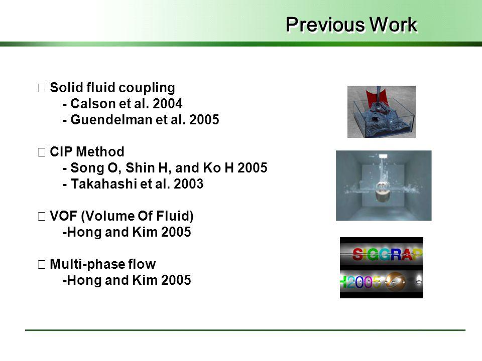 Previous Work ◇ Solid fluid coupling - Calson et al. 2004 - Guendelman et al. 2005 ◇ CIP Method - Song O, Shin H, and Ko H 2005 - Takahashi et al. 200