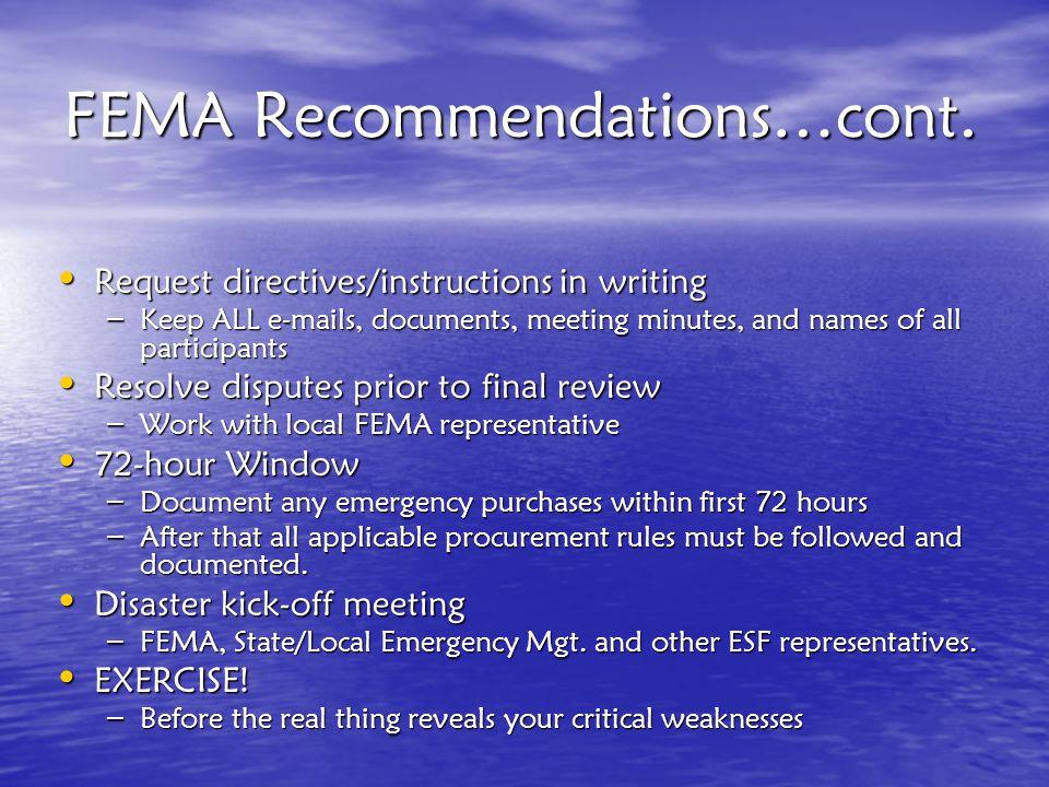 FEMA Recommendations…cont.