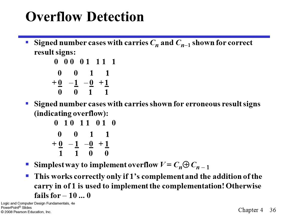 Chapter 4 36 Overflow Detection  Signed number cases with carries C n and C n   shown for correct result signs: 0 0 0 0 1 1 1 1 1 0 0 1 1 + 0   1   0 + 1 0 0 1 1  Signed number cases with carries shown for erroneous result signs (indicating overflow): 0 1 0 1 1 0 1 0 1 0 0 1 1 + 0   1  0 + 1 1 1 0 0  Simplest way to implement overflow V = C n + C n   This works correctly only if 1's complement and the addition of the carry in of 1 is used to implement the complementation.