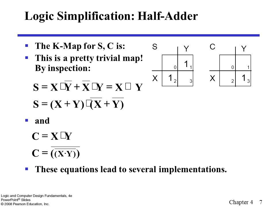 Chapter 4 8 Five Implementations: Half-Adder  We can derive following sets of equations for a half- adder:  (a), (b), and (e) are SOP, POS, and XOR implementations for S.