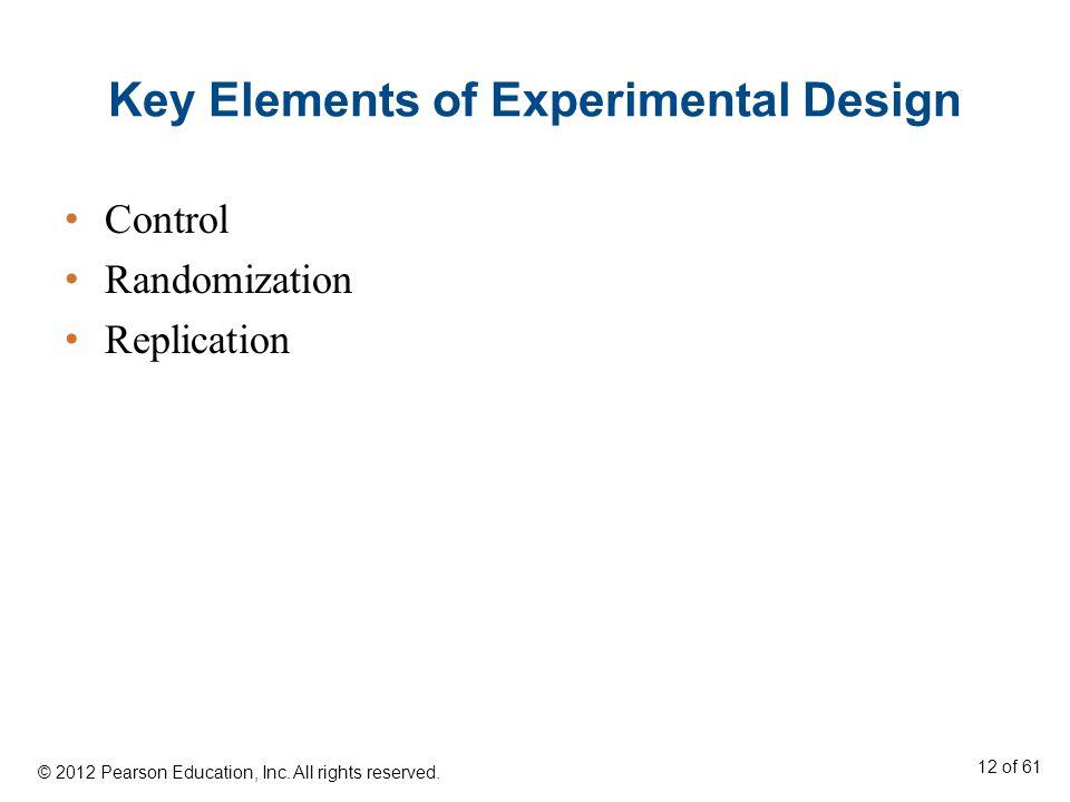 Key Elements of Experimental Design Control Randomization Replication © 2012 Pearson Education, Inc.