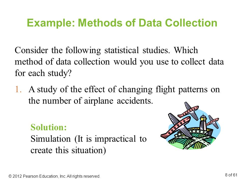 Example: Methods of Data Collection Consider the following statistical studies.
