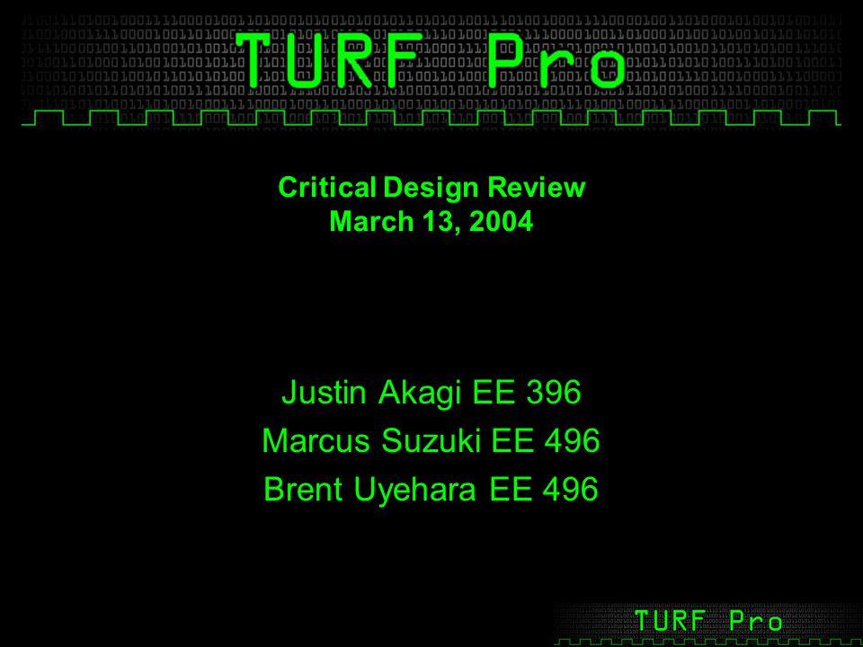 Critical Design Review March 13, 2004 Justin Akagi EE 396 Marcus Suzuki EE 496 Brent Uyehara EE 496