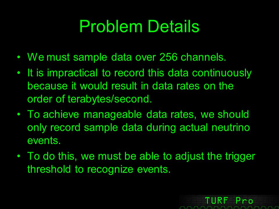 Problem Details We must sample data over 256 channels.
