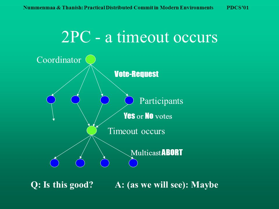 Nummenmaa & Thanish: Practical Distributed Commit in Modern Environments PDCS'01 Why would the timeout mechanism be good.
