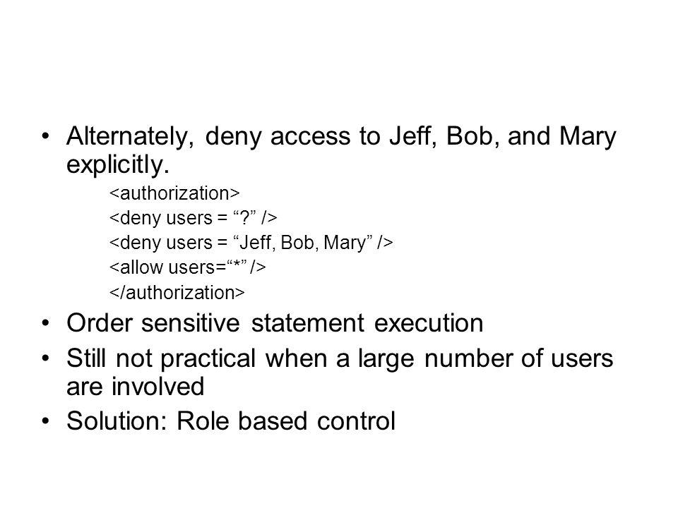 Alternately, deny access to Jeff, Bob, and Mary explicitly.