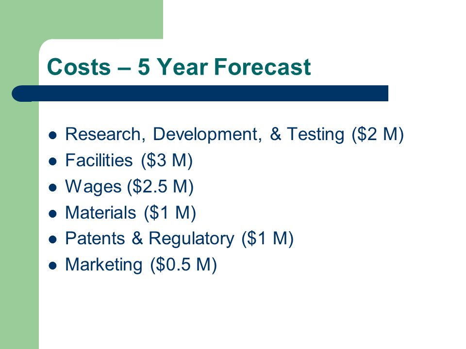 Costs – 5 Year Forecast Research, Development, & Testing ($2 M) Facilities ($3 M) Wages ($2.5 M) Materials ($1 M) Patents & Regulatory ($1 M) Marketing ($0.5 M)