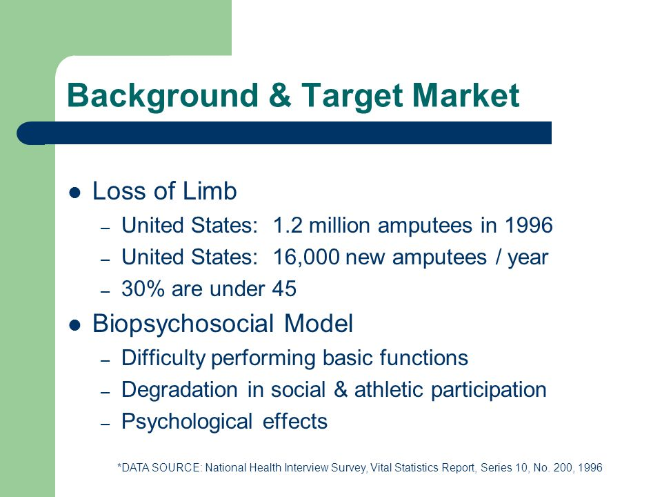 Background & Target Market Loss of Limb – United States: 1.2 million amputees in 1996 – United States: 16,000 new amputees / year – 30% are under 45 Biopsychosocial Model – Difficulty performing basic functions – Degradation in social & athletic participation – Psychological effects *DATA SOURCE: National Health Interview Survey, Vital Statistics Report, Series 10, No.