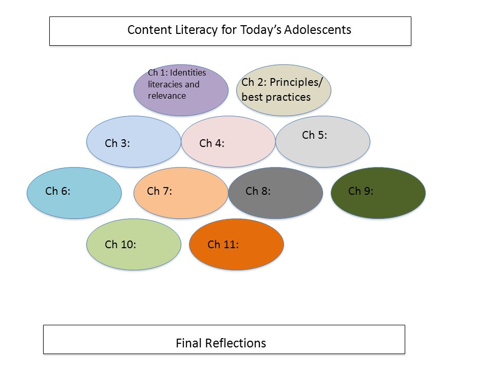 Content Literacy for Today's Adolescents Final Reflections Ch 1: Identities literacies and relevance Ch 2: Principles/ best practices Ch 6:Ch 7:Ch 8:C