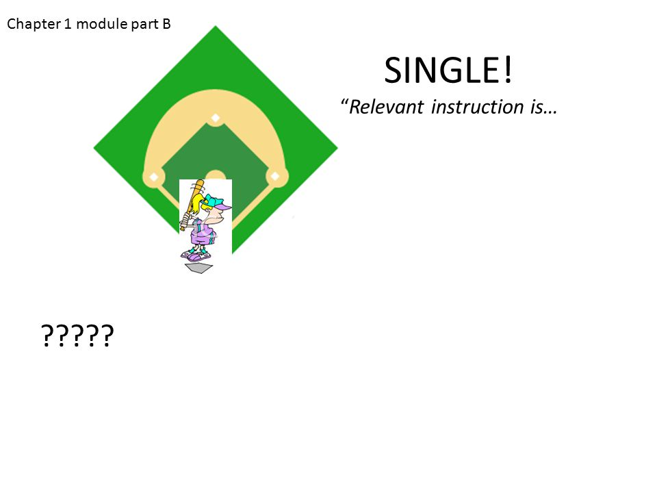 "SINGLE! ""Relevant instruction is… ????? Chapter 1 module part B"