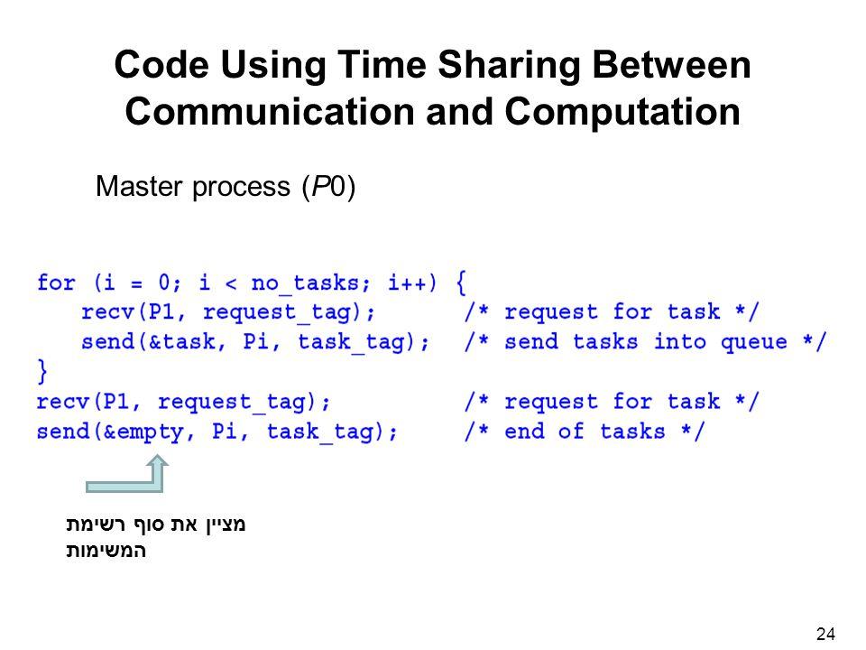 24 Code Using Time Sharing Between Communication and Computation Master process (P0) מציין את סוף רשימת המשימות