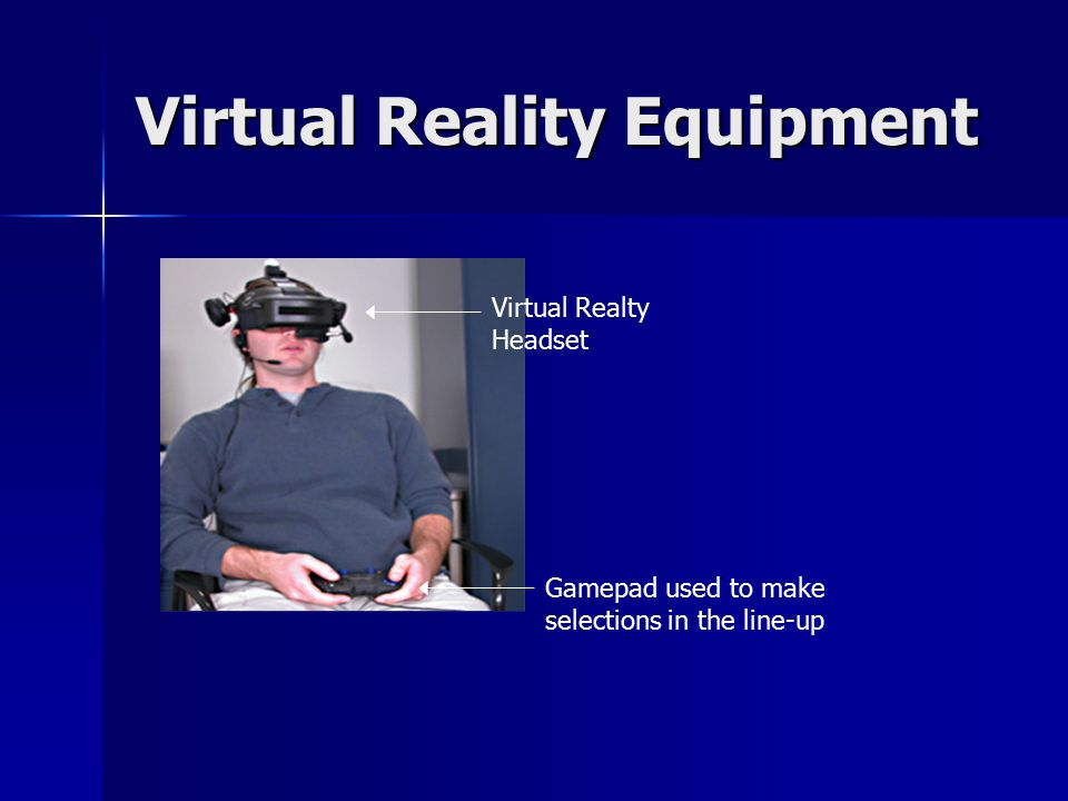 Virtual Reality Equipment Virtual Realty Headset Gamepad used to make selections in the line-up