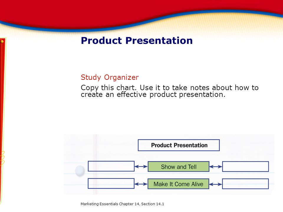 Product Presentation Study Organizer Copy this chart. Use it to take notes about how to create an effective product presentation. Marketing Essentials