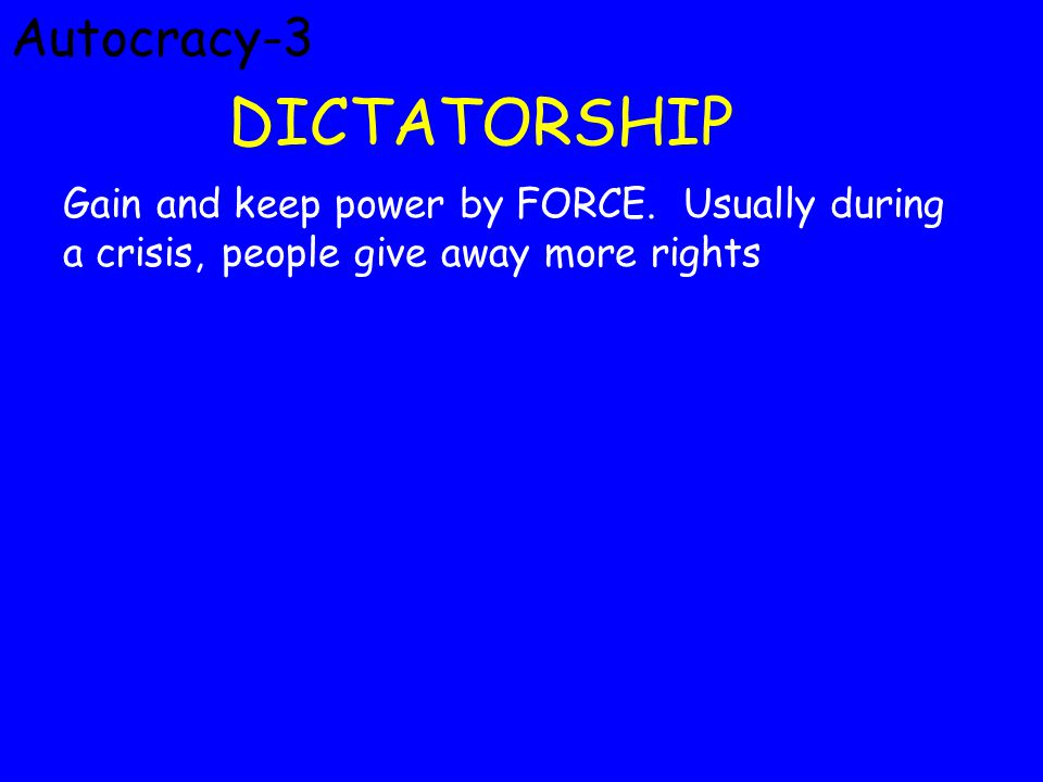 Autocracy-3 DICTATORSHIP Gain and keep power by FORCE.