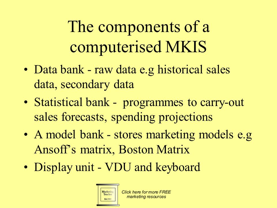 The components of a computerised MKIS Model Bank Data Bank Statistical Bank MKIS Display unit Marketing Manager