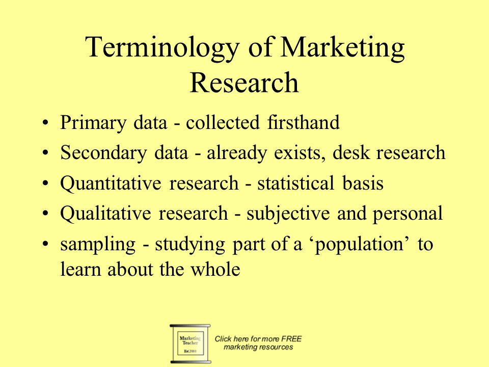 The Marketing Research Process Set objectives Define research Problem Assess the value of the research Construct a research proposal Specify data collection method Specify techniques of measurement Select the sample Data collection Analysis of results Present in a final report