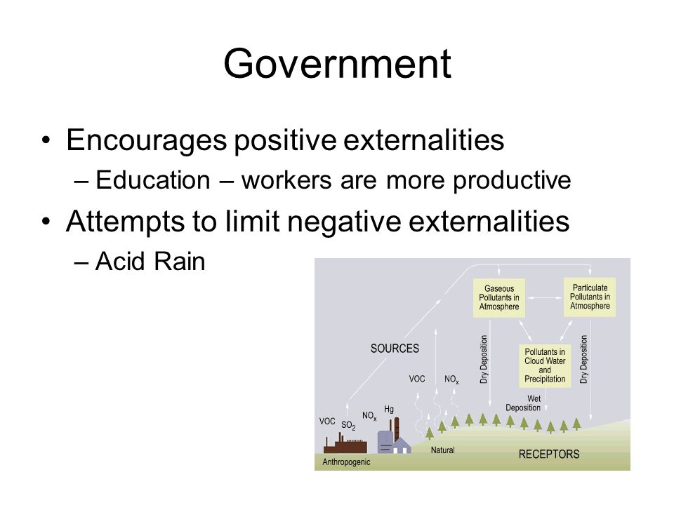 Government Encourages positive externalities –Education – workers are more productive Attempts to limit negative externalities –Acid Rain
