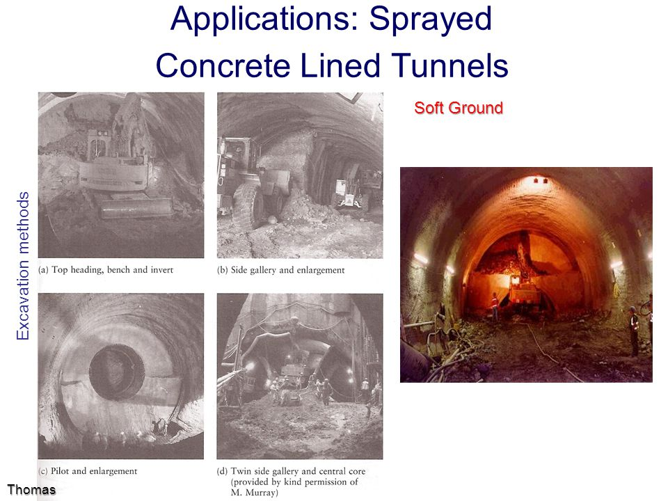 Applications: Sprayed Concrete Lined Tunnels Soft Ground Thomas Excavation methods