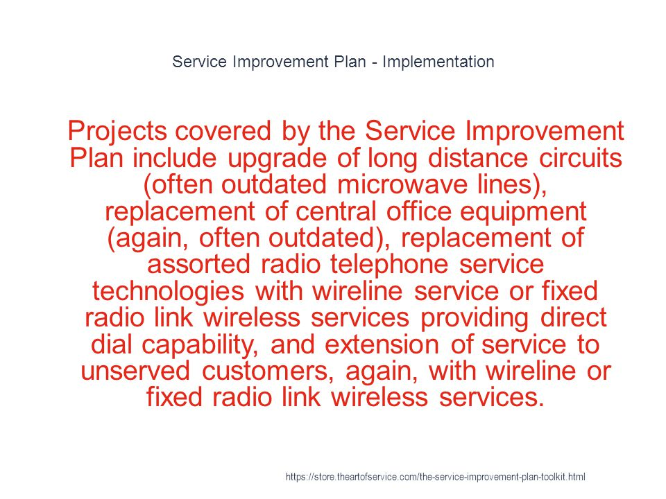 Northwestel - Modernization 1 A Service Improvement Plan (SIP), similar to ones implemented by other Canadian telephone companies, extended basic levels of service to more of the north during the four years starting in 2001.