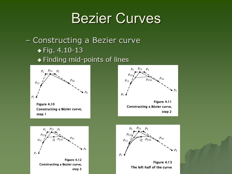 Bezier Curves –Constructing a Bezier curve  Fig. 4.10-13  Finding mid-points of lines