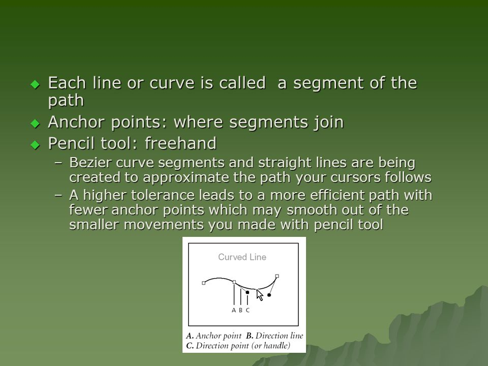  Each line or curve is called a segment of the path  Anchor points: where segments join  Pencil tool: freehand –Bezier curve segments and straight lines are being created to approximate the path your cursors follows –A higher tolerance leads to a more efficient path with fewer anchor points which may smooth out of the smaller movements you made with pencil tool