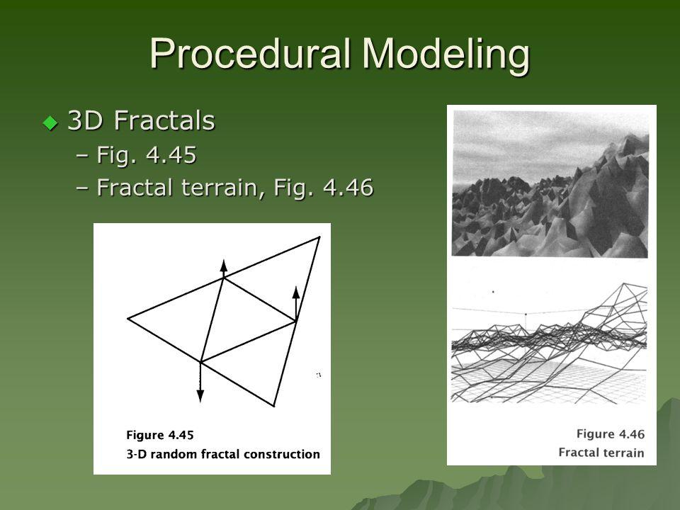 Procedural Modeling  3D Fractals –Fig. 4.45 –Fractal terrain, Fig. 4.46