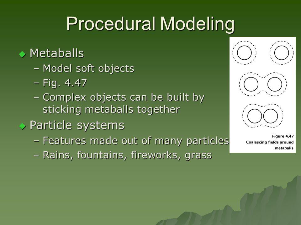 Procedural Modeling  Metaballs –Model soft objects –Fig.