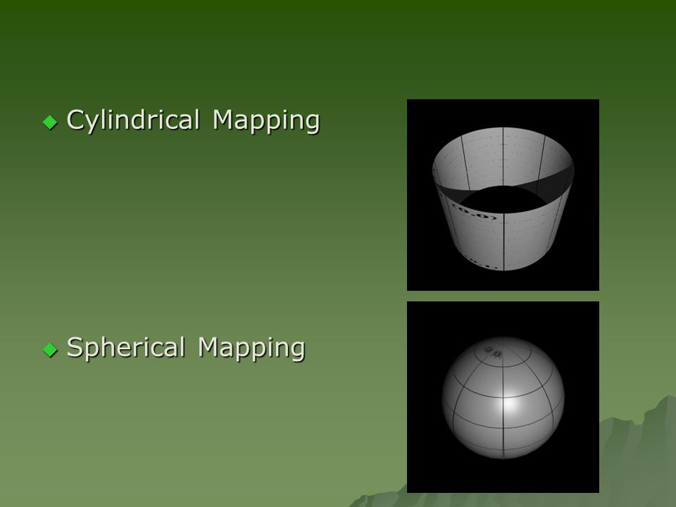  Cylindrical Mapping  Spherical Mapping