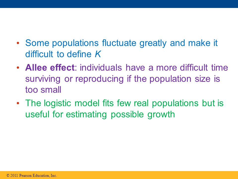 Some populations fluctuate greatly and make it difficult to define K Allee effect: individuals have a more difficult time surviving or reproducing if the population size is too small The logistic model fits few real populations but is useful for estimating possible growth © 2011 Pearson Education, Inc.