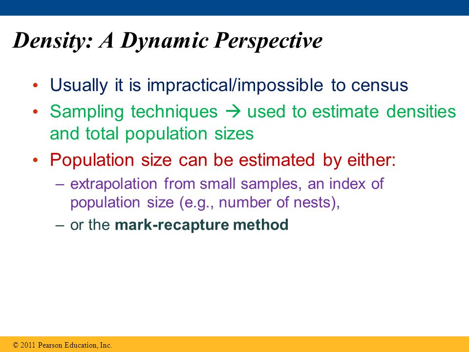 Density: A Dynamic Perspective Usually it is impractical/impossible to census Sampling techniques  used to estimate densities and total population si