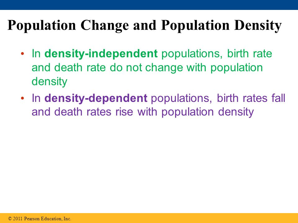 Population Change and Population Density In density-independent populations, birth rate and death rate do not change with population density In densit