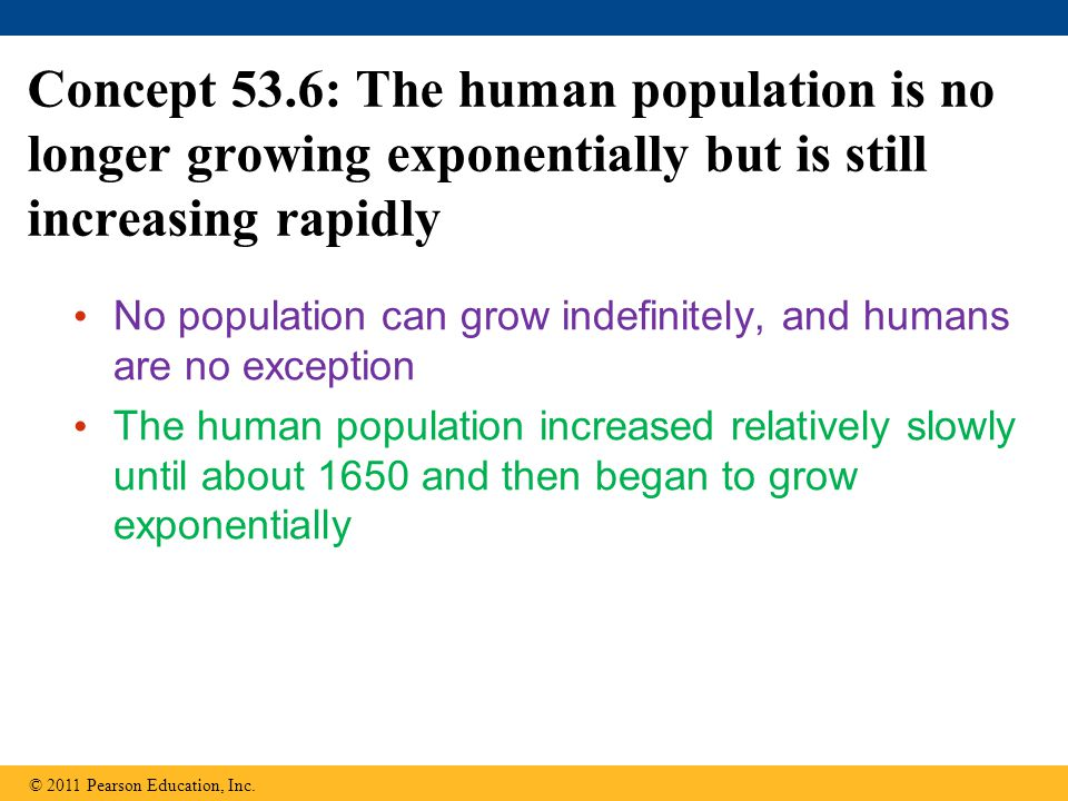 Concept 53.6: The human population is no longer growing exponentially but is still increasing rapidly No population can grow indefinitely, and humans