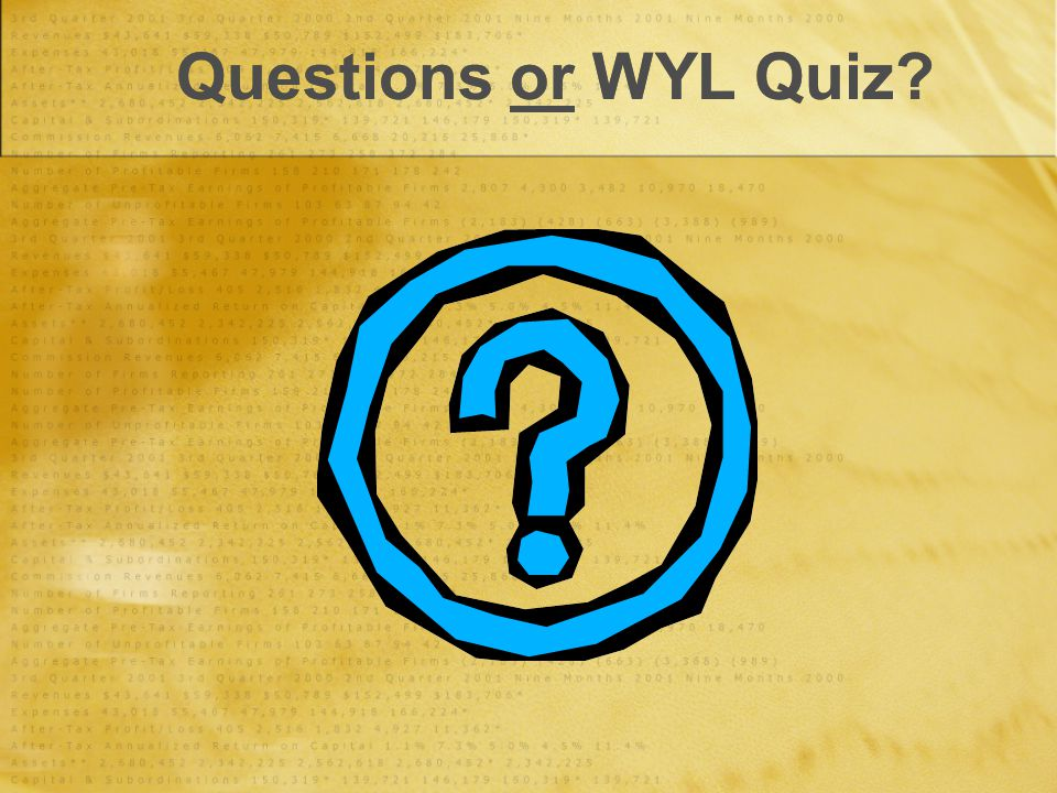 Questions or WYL Quiz