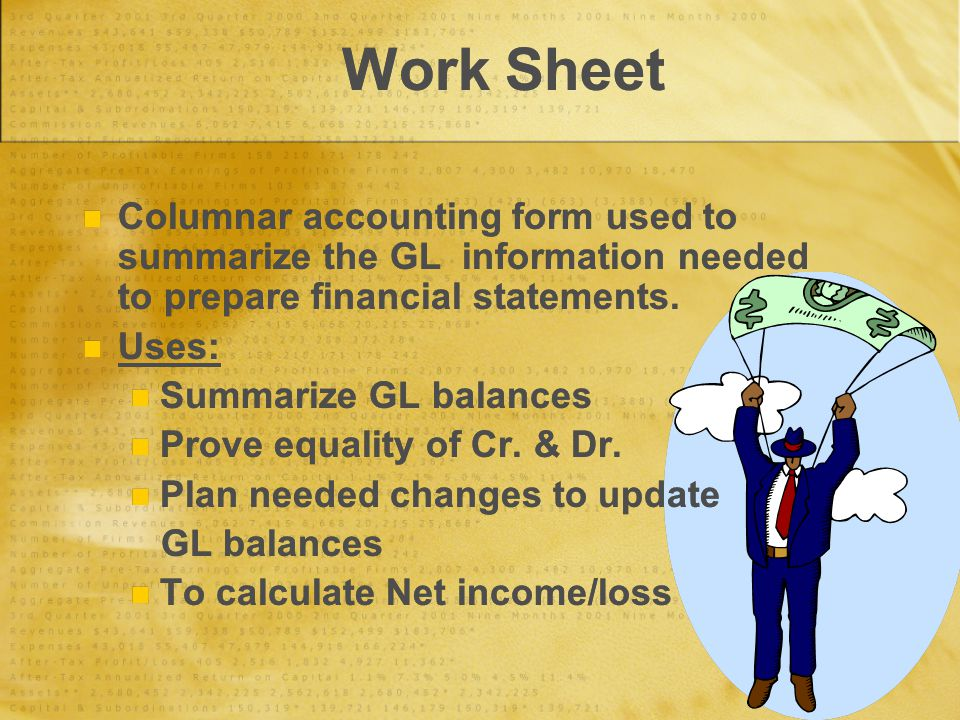 Work Sheet Columnar accounting form used to summarize the GL information needed to prepare financial statements.