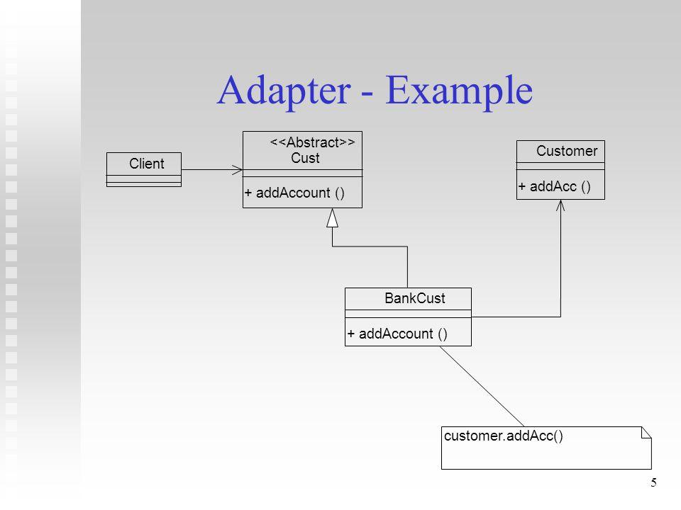 5 Adapter - Example Customer + addAcc () Cust + addAccount () > Client BankCust + addAccount () customer.addAcc()