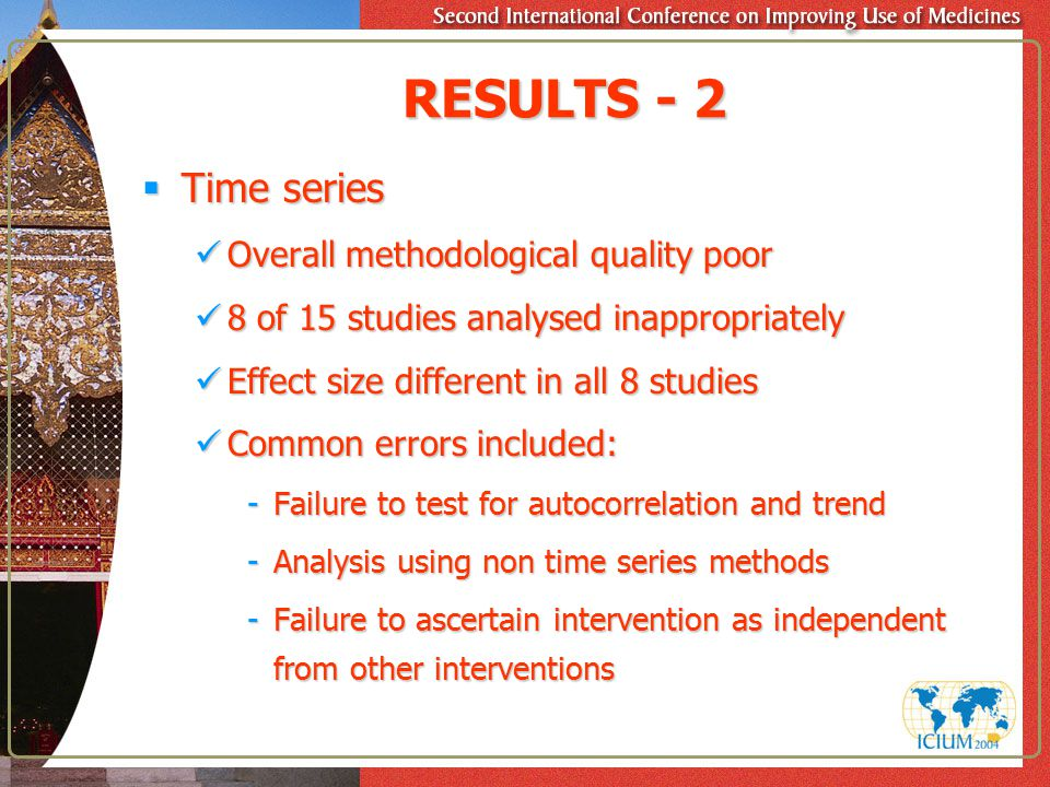 RESULTS - 2  Time series Overall methodological quality poor Overall methodological quality poor 8 of 15 studies analysed inappropriately 8 of 15 stu
