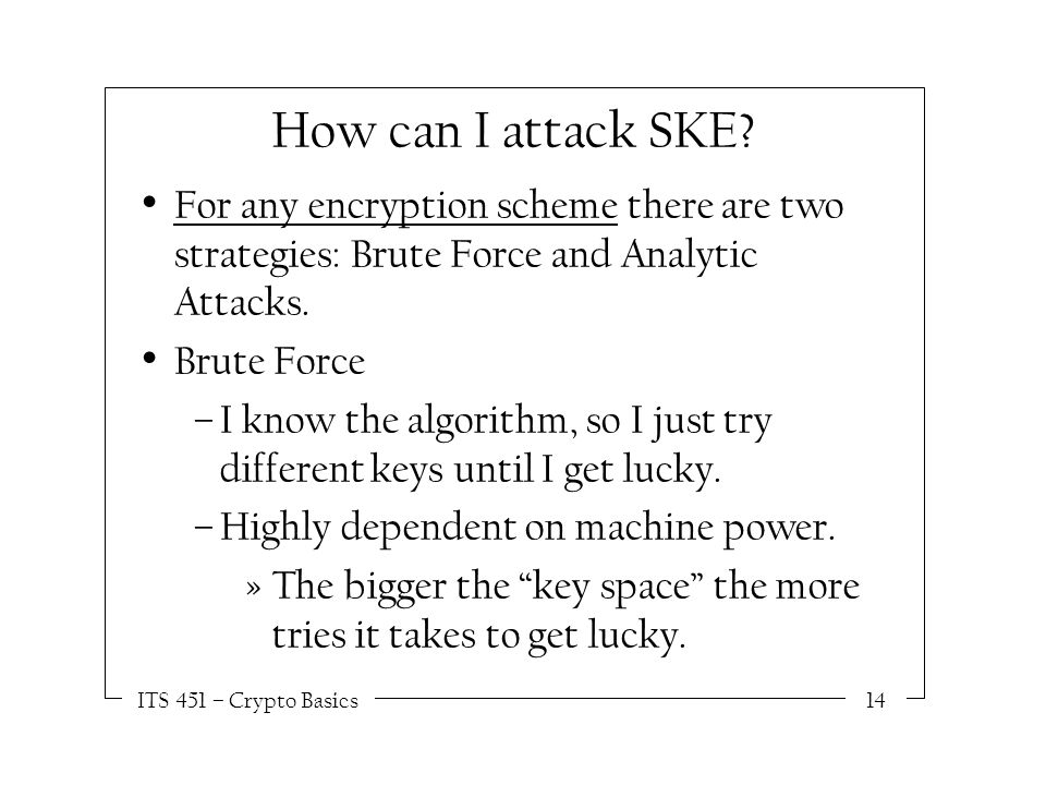 ITS 451 – Crypto Basics14 How can I attack SKE.