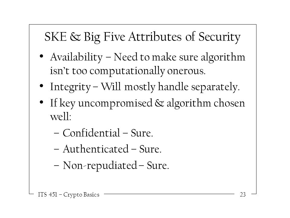 ITS 451 – Crypto Basics23 SKE & Big Five Attributes of Security Availability – Need to make sure algorithm isn't too computationally onerous.