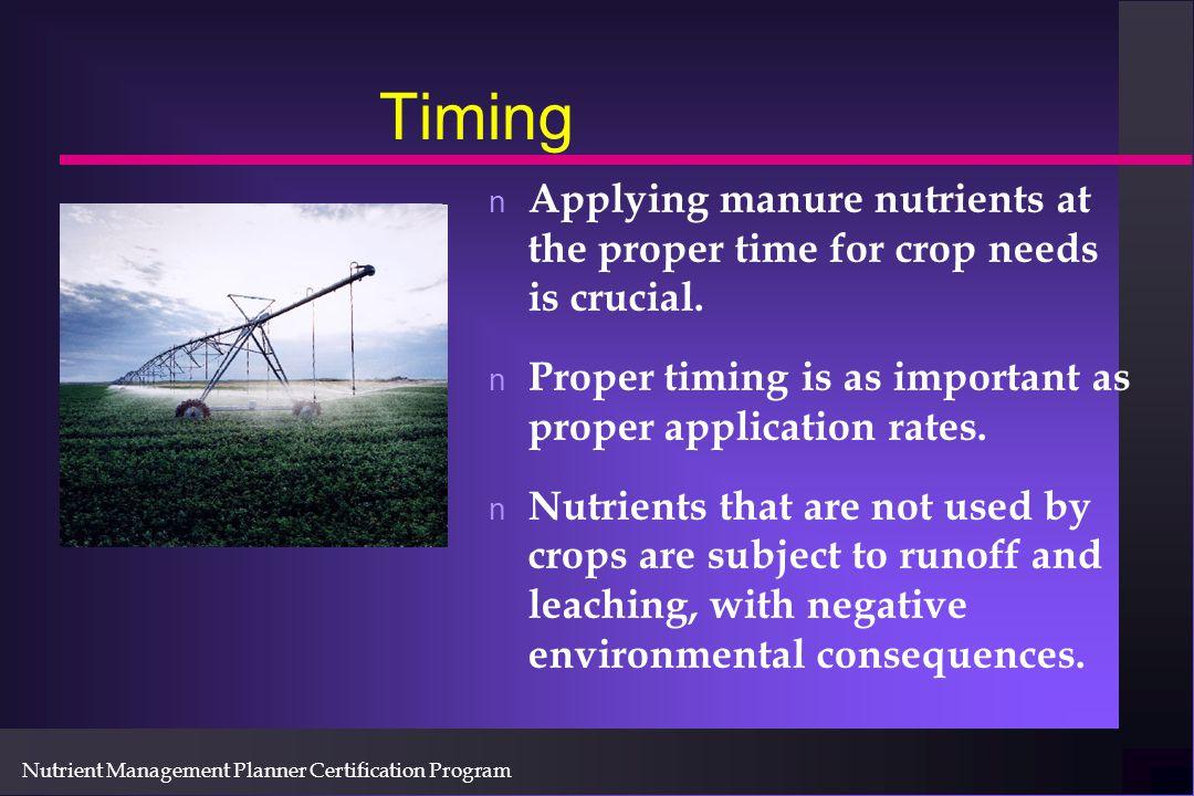 Nutrient Management Planner Certification Program Pressure gauge is useful to insure system performance