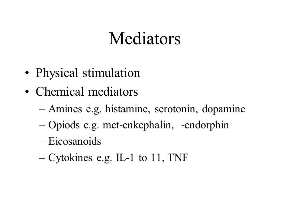 Mediators Physical stimulation Chemical mediators –Amines e.g.