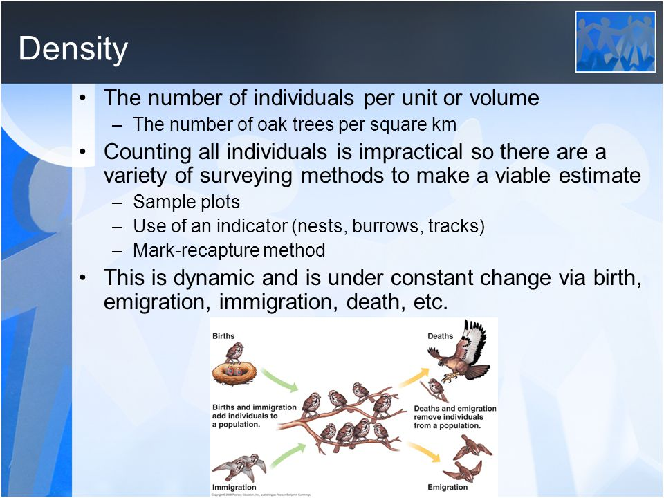 Density The number of individuals per unit or volume –The number of oak trees per square km Counting all individuals is impractical so there are a variety of surveying methods to make a viable estimate –Sample plots –Use of an indicator (nests, burrows, tracks) –Mark-recapture method This is dynamic and is under constant change via birth, emigration, immigration, death, etc.