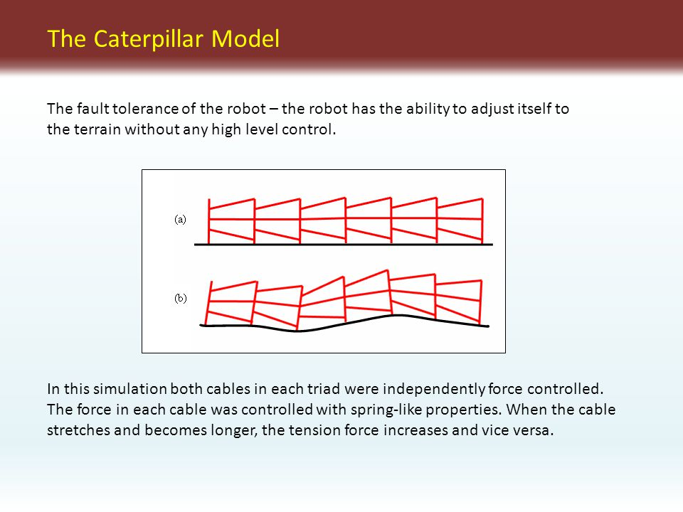 The Caterpillar Model In this simulation both cables in each triad were independently force controlled.