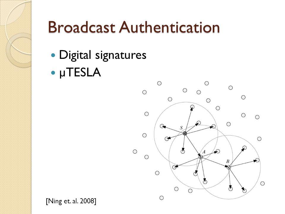 Broadcast Authentication Digital signatures µTESLA [Ning et. al. 2008]