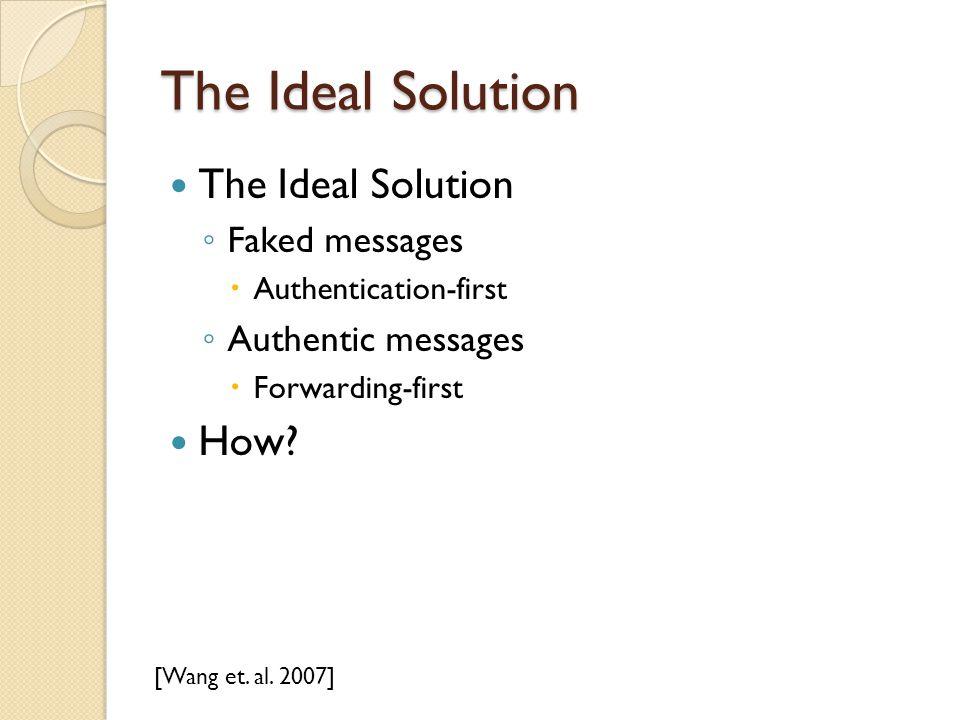 The Ideal Solution ◦ Faked messages  Authentication-first ◦ Authentic messages  Forwarding-first How? [Wang et. al. 2007]